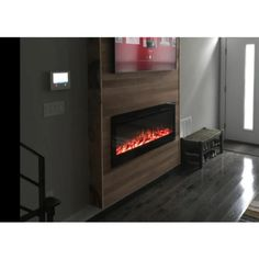 Corner Fireplace Tv Stand, Fireplace Feature Wall, Fireplace Gallery, Floating Fireplace, Mounted Fireplace, Black Fireplace, Fireplace Update, Fireplace Remodel, Fireplace Inserts