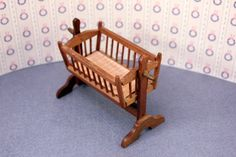Miniature Baby Cradle Colonial Dollhouse Furniture Check out: Missdollhouse.com