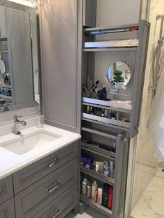 Great option for makeup storage in bathroom cabinetry! Great option for makeup storage in bathroom cabinetry! Bathroom Cabinetry, Bathroom Renos, Bathroom Mirrors, Wood Bathroom, Bathroom Faucets, Restroom Cabinets, Bathroom Hooks, Mosaic Bathroom, Shower Bathroom