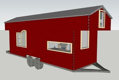 """""""Since we've got them, I figure I'll share a few Google SketchUp renderings of the Tiny House. SketchUp is free, and it is a really useful tool in considering the 2d plans spatially. A few details have already changed (window placement, mostly), and a few things need to be added (water heater, a/c unit, more detailed cabinetry diagrams), but they're too cool not to share."""""""