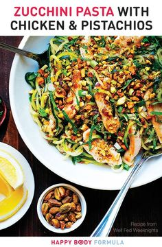 Zucchini Pasta With Chicken Pistachios (Paleo, Gluten-Free, Low-Carb). This is a recipe from Well Fed Weeknights: Complete Paleo Meals in 45 Minutes Or Less by Melissa Joulwan. recipes with chicken Keto Foods, Ketogenic Recipes, Paleo Recipes, Cooking Recipes, Paleo Meals, Ketogenic Diet, Paleo Food, Dessert Recipes, Easy Recipes