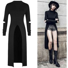 Top Gothic Fashion Tips To Keep You In Style. As trends change, and you age, be willing to alter your style so that you can always look your best. Consistently using good gothic fashion sense can help Punk Dress, Tee Dress, Slit Dress, Mode Outfits, Fashion Outfits, Womens Fashion, Fashion Ideas, Fashion Clothes, Style Fashion