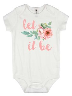 Beatles Gift - Let it Be onesie®- baby shower gift - The Beatles - Baby Girl shirt - unique baby gift - custom baby clothes -floral bodysuit Baby Girl Shirts, Shirts For Girls, Newborn Outfits, Girl Outfits, Unique Baby Girl Gifts, Cute Babies, Baby Kids, Baby Clothes Online, Going Home Outfit
