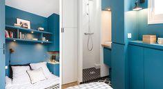Cette petite chambre de 12m2 renferme toutes les fonctions d'une suite: un lit deux places, une salle de bains et un dressing.
