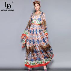 566179a98 US $26.84 56% OFF LD LINDA DELLA Fashion Runway Maxi Dress 5XL Plus size Women's  Loose Flare Sleeve Animal Pattern Floral Print Vintage Long Dress-in ...