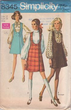 MOMSPatterns Vintage Sewing Patterns - Simplicity 8345 Vintage 60's Sewing Pattern DANDY Mod Twiggy Plunging U Neckline Double Breasted Wrap Around Jumper, Mini Dress & Tie Collar Blouse Size 12 UNCUT