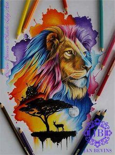 Bright watercolor lion
