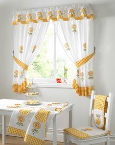 beautiful sunflower motif kitchen window valance and curtains