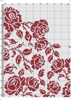 Beaded Embroidery, Cross Stitch Embroidery, Hand Embroidery, Cross Stitch Rose, Cross Stitch Flowers, Crochet Chart, Filet Crochet, Bead Loom Patterns, Beading Patterns
