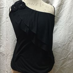 INC International Concepts off the shoulder INC black off the shoulder top S. Worn once and in great condition! INC International Concepts Tops