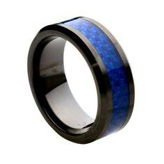 Ceramic with Blue Carbon Fiber Inlay 8mm Wedding Band Ring, 9.5 Size Ceramic Rings http://www.amazon.com/dp/B00AM15ML4/ref=cm_sw_r_pi_dp_FhXcvb0SSXJTV