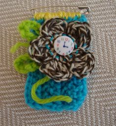 twinchie brooch crocheted brooch yarn button by ContainedHappiness