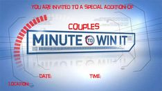 """Based off the hit show """"Minute to Win It' comes a date night with all the outrageous and fun games. Perfect for couples, groups, or parties. Couples Game Night, Date Night Ideas For Married Couples, Night Couple, Family Night, Creative Date Night Ideas, Romantic Date Night Ideas, Romantic Dates, Romantic Gifts, Medan"""