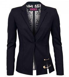 Black Slim Fit Blazer with Safety Pins