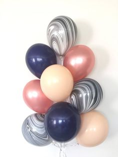 Blush and Navy Balloons Navy and Rose Gold Balloon Bouquet Rose Gold Balloons, Black Balloons, Wedding Balloons, Birthday Balloons, Birthday Parties, Parties Kids, 16th Birthday, Happy Birthday, Navy Baby Showers