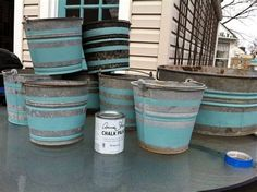 painting galvanized steel buckets get masked off and painted for a special project painting galvanized metal metal tub Painting Galvanized Metal, Metal Tub, Galvanized Buckets, Galvanized Steel, Galvanized Decor, Painted Metal, Steel Bucket, Tin Buckets, Flea Market Gardening