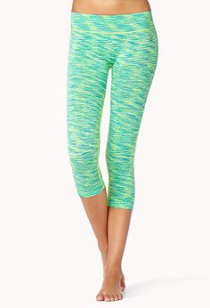 Space Dye Skinny Workout Capri in Peacock #Forever21