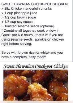 Sweet Hawaiian crock pot chicken (Add all the pineapple chunks too!)