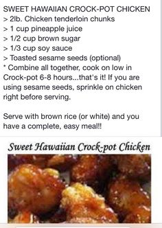 Sweet Hawaiian crock pot chicken (Add all the pineapple chunks too!)