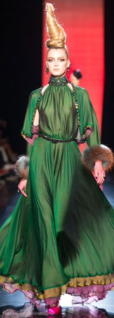 Hues of Emerald ~Jean Paul Gaultier Haute Couture | F/W 2013. V #Gaultier #Couture #Avant-Garde #Fashion #Runway #exquisite #Kaftans