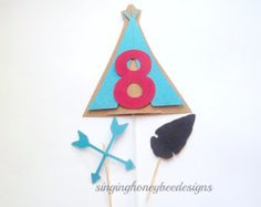 Teepee cake topper, Cowboy and Indian topper, Teepee smash cake, Cowboy and Indian birthday, Pow wow tribal birthday, teepee centerpiece,