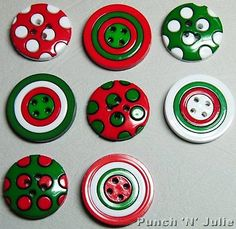 Christmas #circles - red #green white polka dot novelty dress it up #craft button,  View more on the LINK: http://www.zeppy.io/product/gb/2/310820491061/