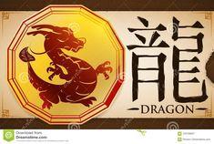 Voluta Con La Medalla Con El Dragón Chino Del Zodiaco Sobre El Fondo Terroso, Ejemplo Del Vector Ilustración del Vector - Ilustración de asiático, magnanimous: 103709947