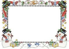 Holiday season frame with snowmen at bottom corners
