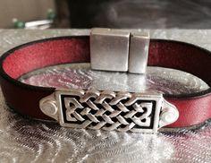 Celtic Silver and Leather Bracelet by joytoyou41 on Etsy, $33.00