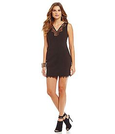 Lucy Paris InsetLace Cross Seamed Dress #Dillards poly/spandex black szS 31.15