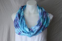 Tie Dye Infinity scarf  Jessamine Blue folded by ASPOONFULOFCOLORS #etsy #infinity scarves #tie dye
