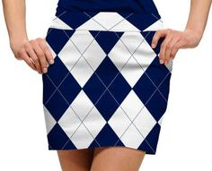 Womens Navy & White Argyle Made to Order Skirts or Skorts by Loudmouth Golf.  Buy it @ ReadyGolf.com