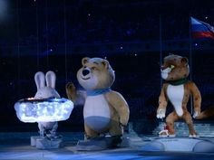 Olympic mascot Polar Bear blows out the flame during the closing ceremony.