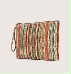 prada striped straw clutch