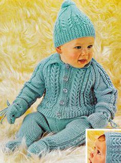 PDF Vintage Lister Lee 'Baby Love' Aran Pram Set Knitting Pattern, Matinee, Pull Ups, Leggings, Bonnet & Bobble Hat, Doll, Horseshoe Cable