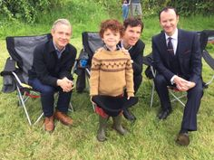 SHERLOCK S4 E3: The Final Problem. Martin Freeman, Benedict Cumberbatch, Mark Gatiss, Tom Stoughton (young Sherlock) behind the scenes.