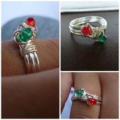 anillo alambre y cristales