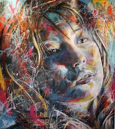 Street Art by David Walker, spray paint, 2010. Exploring faces and emotions through color and expressive mark making.