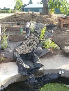 Diy garden waterfall projects outdoor ideas garden for Koi pond pool table