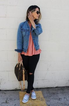 The Perfect Denim Jacket + A Peplum Tee (Each Under $40!) - my kind of sweet | spring style | affordable fashion | mom style | outfit inspiration | street style | postpartum style | body after baby