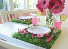 Grass Mats with Pink Flowers for Girls Party Center Piece Placemats Table Décor, Kids Fairy Garden Party, Woodland Party, Wedding Decor and Children's Room Decor:Amazon:Home  Kitchen