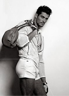 David Gandy // This is how you wear classic Lacoste tennis shorts.