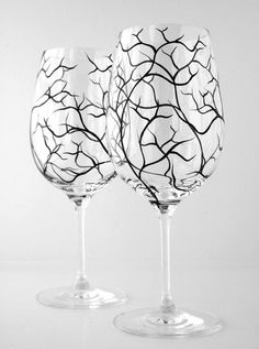 Black Winter Tree Branch Wine Glasses. Hand Painted. Available from MaryElizabethArts.com