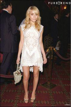 Ashley Olsen in a lace dress