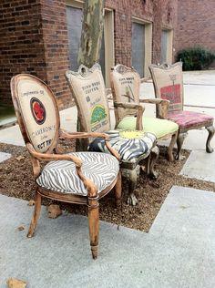 Eclectic Burlap Dining Chairs, Set of 4. lemonAIDER via Etsy.