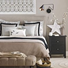 Neutral bedroom with black accents | Bedroom | PHOTO GALLERY | Ideal Home | Housetohome.co.uk