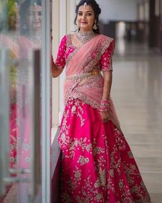 Bride With Pink Bridal Lehenga : Spotted Online Lehenga Saree Design, Half Saree Lehenga, Lehnga Dress, Sari, Lehenga Gown, Kids Lehenga, Pink Bridal Lehenga, Designer Bridal Lehenga, Indian Bridal Lehenga