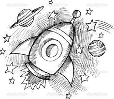 Cute Outer Space Rocket Sketch Vector — Stock Vector ...