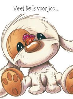 Love & hug Quotes : Puppy met vlinder op zijn neus- Greetz - Quotes Sayings Cute Images, Cute Pictures, Animal Drawings, Cute Drawings, Cute Cartoon, Cartoon Art, Blue Nose Friends, Belly Painting, Tatty Teddy