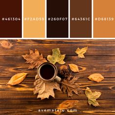 fall colors Coffee and leaves on wooden background Color Palette Source: Do you like it? Share why (or why not!) in the comments! Feel free to share it on your soc Rustic Color Schemes, Vintage Color Schemes, Rustic Color Palettes, Fall Color Schemes, Vintage Colour Palette, Color Schemes Colour Palettes, Earthy Color Palette, House Color Schemes, Rustic Colors